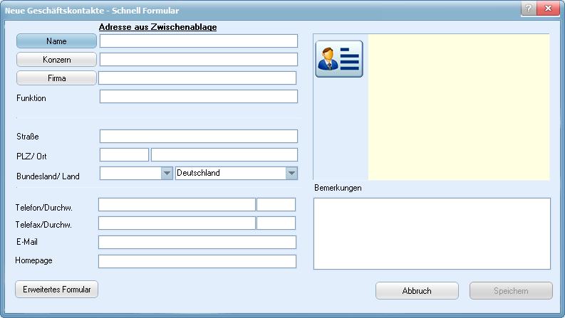 staffITpro WEB Hilfe - Schnellformular